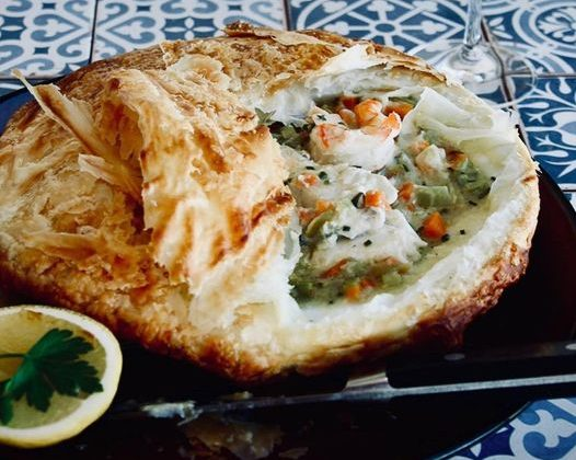 Prawn & Snapper Pie - Beef and Beach Byron Bay